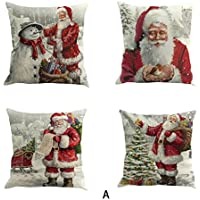 "Janly® Cushion Cover 4PC Merry Christmas Decorative Pillowcases 18""x18"" , Snowman / Elk / Santa Waist Throw Pillow Cover"