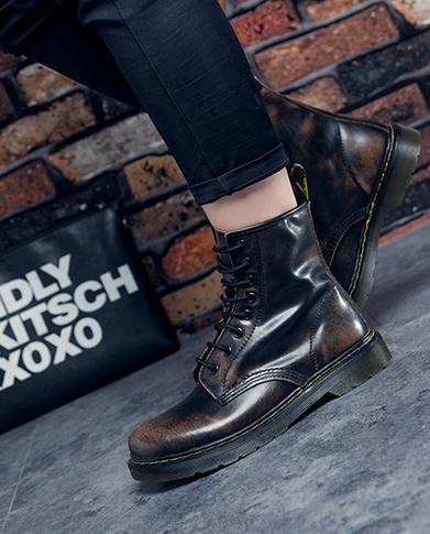 &zhou femelle Martin bottes automne et bottes d'hiver mode plat - à fond des bottes brown velvet