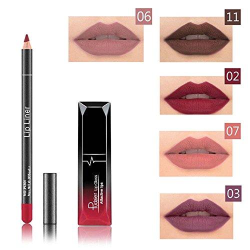 Brillo Pintalabios Permanente y Lápiz Labial Mate Larga Duracion de Maquillaje Profesional 12 Colores para Niñas y Mujer por ESAILQ