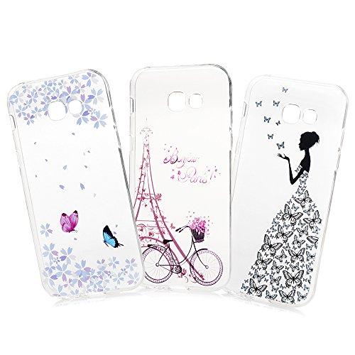 tal Case Schutzhülle TPU Silikon Case Cover für Samsung Galaxy A3 2017 Handyhüll Hülle Etui Handycase Silikonhülle Protective Handytasche Transparent Schmetterlings Mädchen ()