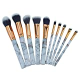 MEIbax 10 Stück Marmor Make-up Pinsel Set Lidschatten Pinsel Kosmetik Blending Pinsel-Tool//Make up Brush Set Schmink Pinselset Etui Schminkpinsel Makeup Brush Set Lidschattenpinsel Gesichtspinsel (Grau)