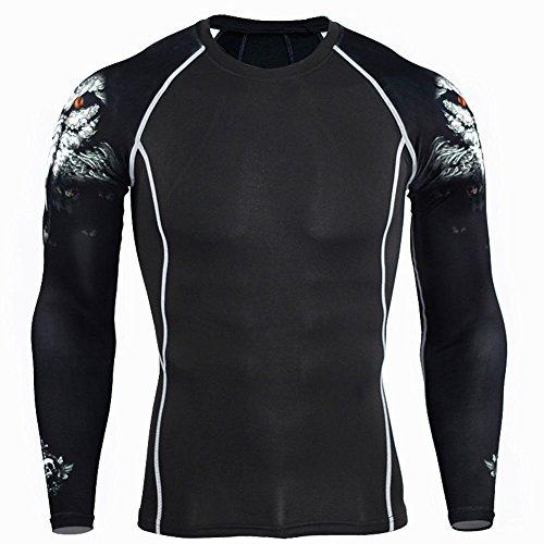 Forfar Beautyrain Compression Shirts 3D Teen Langarm T Shirt Sport Wolf Abschnitt TC96 Männer Fitness Lauf Body Building T Shirt