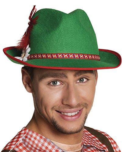 erdbeerclown - Karneval Kostüm Tiroler Hut, Grün Rot