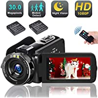 Video Camera Camcorder with Night Vision,1080p 30FPS HD Digital YouTube Vlogging Camera Recorder Support External Microphone Full HD 30MP 18X Digital Zoom with 2 Batteries HDMI Cable Included