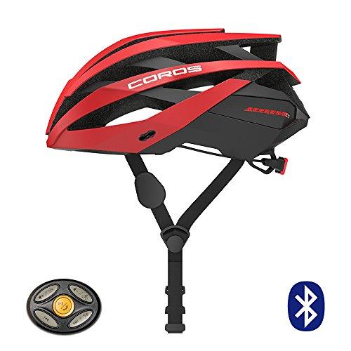 Casco per bicicletta COROS Omni Smart con cuffie conduttive ossee e luce posteriore a LED | verknüpfe Via Bluetooth per musica, chiamate e navigazione | Comodo, facile (Matt Red, M)