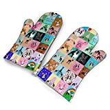 CUUOP13 Crazy Faux Boston Terrier Oven Mitts Grilling Gloves BBQ Kitchen Oven Mitts Long Waterproof Non-Slip Potholder for BBQ Cooking Baking Grilling Gloves