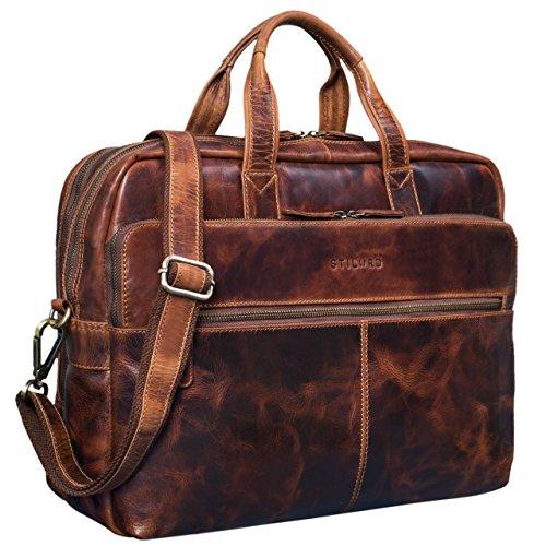 STILORD \'William\' Businesstasche Leder groß XL Lehrertasche Aktentasche 15,6 Zoll Laptoptasche Bürotasche Ledertasche Vintage Umhängetasche Echtleder, Farbe:Kara - Cognac