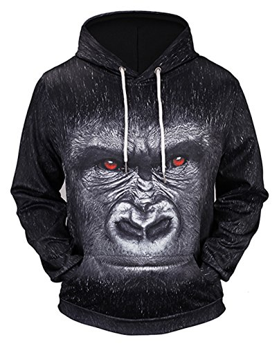 Pizoff Unisex Hip Hop Sweatshirts druck Kapuzenpullover mit Farbkleks 3D Digital Print Gorilla, Y1760-78, Gr. XL (Womens Neue Diesel)