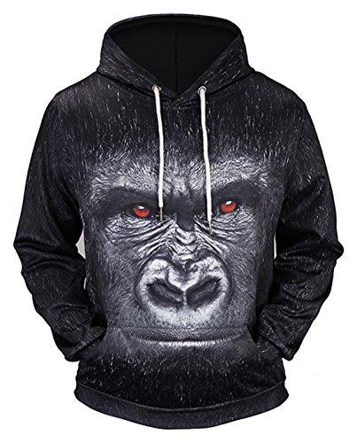 Pizoff Unisex Hip Hop Sweatshirts druck Kapuzenpullover mit Farbkleks 3D Digital Print Gorilla, Y1760-78, Gr. XL (Zip Levis Vintage)