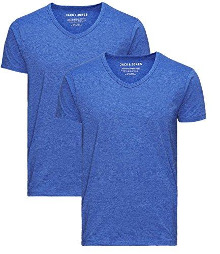 JACK & JONES Herren 2er Pack T-Shirt Basic V-Ausschnitt 12059219 2x surf the web