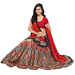 Styles Closet Womens Jacquard Banarasi Lehenga Choli(Red)