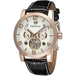 Forsining Men's Automatic Tourbillon Genuine Leather Brand Calendar Wrist Watch FSG165M3G1