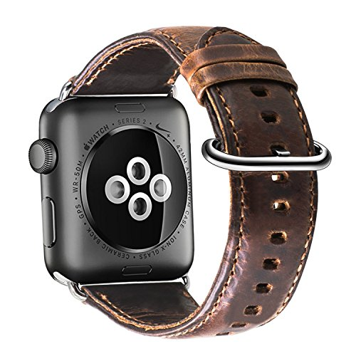 Apple Watch Band 42mm, XGUO Vintage correa de cuero genuino reemplazo de banda de muñeca con hebilla de metal para Applen Watch Series 3 / Series2 / Series1 [marrón oscuro]
