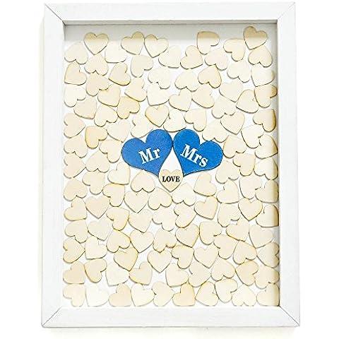 Libro de invitados para boda, Drop caja de gotas de parte superior alternativa boda libro de visitas con 120corazones, rústico, único de regalo de boda libro de invitados para