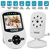 YANX - Babyphone con fotocamera, video baby monitor, schermo a colori wireless da 2,4 pollici, modalità Eco, interfono, luce notturna, sensore di temperatura, libri per dormire