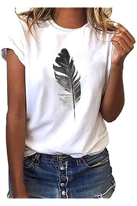 Luckycat Mujeres Camisetas Letras Impresas T Shirt Elegante Manga ...