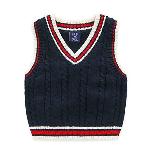 DAYAN Gilet lavorato a maglia maglione di cotone 'Boys' ragazze di copertura Gilet colore Navy Blue Dimensioni 130 centimetri