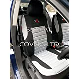 "SB Car Seat Covers - Fundas para asiento de coche (para Nissan Terrano 2 o Patrol, universal, juego completo), diseño con texto ""VRX"", color gris"