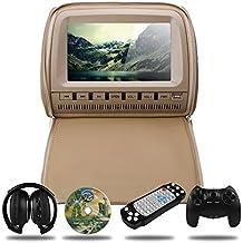 Mvpower 9'' Reposacabezas para Coche Reproductor de DVD Multimedia Monitor Pantalla LCD, con Un Auricular infrarrojo (Beige)