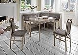 Beauty.Scouts Eckbankgruppe Talia II, Buche Natur Dekor Eckbank Tisch 2 Stühle Grau-Beige Set 4-teilig Truheneckbank Küche Esszimmer Landhaus