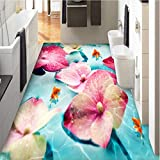Meaosy Papel Tapiz Personalizado Murales Fotos Hd Flores De Color Rosa Peces Dorados Azulejos De Piso