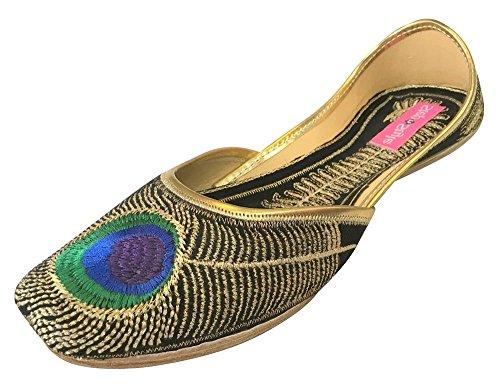 N Step-Scarpe da donna, stile Khussa Punjabi Jutti pavone, Jaipuri-Sandali ballerina Nero (nero)