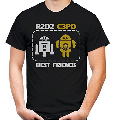 C3po Herren Kostüm Shirt - Best Friends R2D2 & C3PO Männer und Herren T-Shirt | Comic Vintage Empire Geschenk (XXXXL, Schwarz)