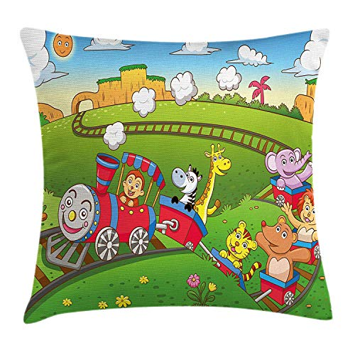 07b1be6f2d11 Yinorz Train Throw Pillow Cushion Cover, Railroad on Hills Smiling Sun  Cartoon Environment Different Cute Creatures on Wagons, Decorative Square  ...