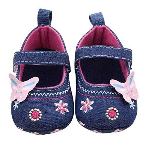 Auxma para niñas Moda bebé Zapatos Mariposa niño Suela Suave 11CM, Azul