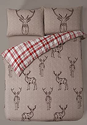 Double Bed Duvet / Quilt Cover Bedding Set Stag Reversible Check Stripe Bedding