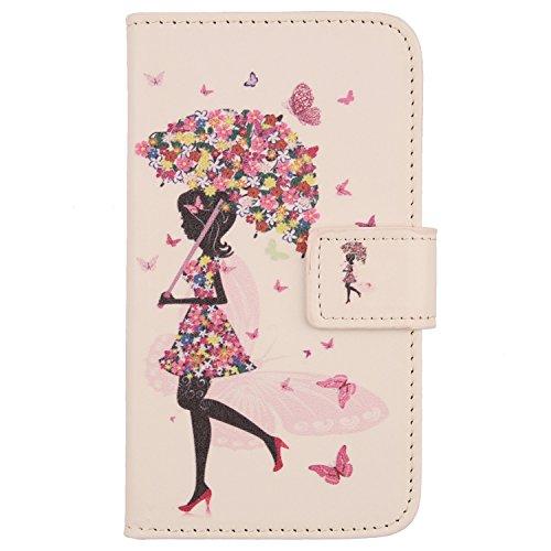 Lankashi PU Flip Leder Tasche Hülle Case Cover Schutz Handy Etui Skin Für Samsung Galaxy Ace Style SM-G310 Umbrella Girl Design