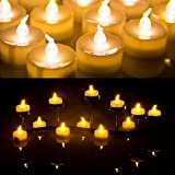 AGPtek LED Kerzen mit Timer, 24er Pack batteriebetriebene flammenlose Teelichter mit Timerfunktion 6 Stunden an und 18 Stunden aus für Hochzeit, Party, Geburtstag, Haus Dekoration (flackernd Gelb)