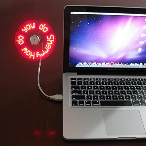 ranuw DIY Flexible Fans USB 2.0rot LED programmierbar Nachricht Fan für PC Laptop Ladegerät