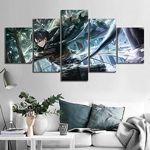 Muraon Impresiones modulares Foto 5 Piezas Ataque en la decoración del hogar Gigante Pinturas Anime Cartel Lienzo Arte de la Pared para el Dormitorio @ 30X40 30X60 30X80cm_Framed