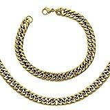 SET 1x Panzerkette + 1 Armband Königskette Silbern Golden Schwarz Edelstahl Herrenschmuck Halskette + Samtbeutel, Farbe:golden, Größe:Ø 8mm - 80 cm