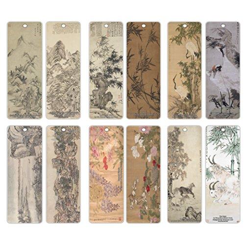 Creanoso classico cinese classica arts dipinti segnalibri (12-pack)–inspirational chinese wall art bookmarker della collezione–grande calza della befana per uomini, donne, ragazze, artisti