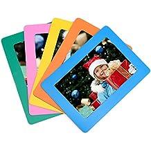 [Paquete de 5] SFTlite marco magnético foto refrigerador estándar 4 x 6 pulgadas tamaño de la tarjeta magnética marcos para nevera conjunto de 5 coloridos estándar refrigerador foto marcos tamaño magnético foto bolsillo
