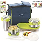 magnus lunch box with detachable clip lock leak proof containers u0026 bag stainless steel 5 pcs set