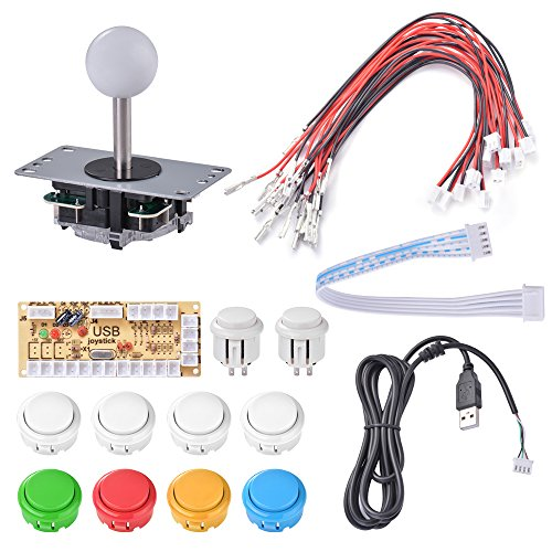 XCSOURCE Zero Delay Arcade Fai da te Kit Kit Encoder USB per joystick PC 5Pin Rocker + 10pcs pulsanti bianchi AC783