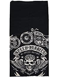Black Skull Biker Face Mask Snood Neck Scarf - By TRIXES