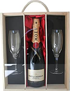 Moet et Chandon Champagne with 2 Sensation Flutes Presented in a Luxury Wooden Box - Ideas for Birthday, Wedding, Anniversary and Corporate
