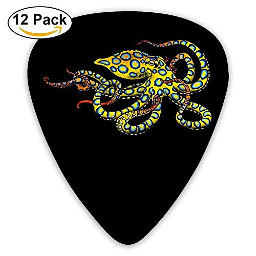 Blue Ring Octopus Classic Guitar Pick (12 Pack) for Electric Guita Bass,0.46/0.73/0.96 Mm Guitar