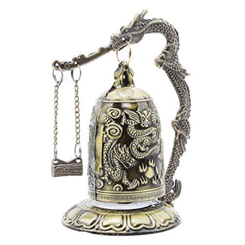Eleusine Antike Dekoration Zink Legierung Retro Stil Bronze Trog Drache Schnitzen Buddhistische Uhr Chinesischen Feng Shui Kunst