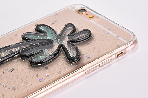 Custodia Cover iPhone 6/6S plus Silicone Morbida,Ukayfe Trasparente Cristallo di Lusso di Bling Glitter Paillettes Disegno per iPhone 6/6S plus Clear Flexible TPU Gel Ultra Sottile Copertura Case Prot Alberi di cocco