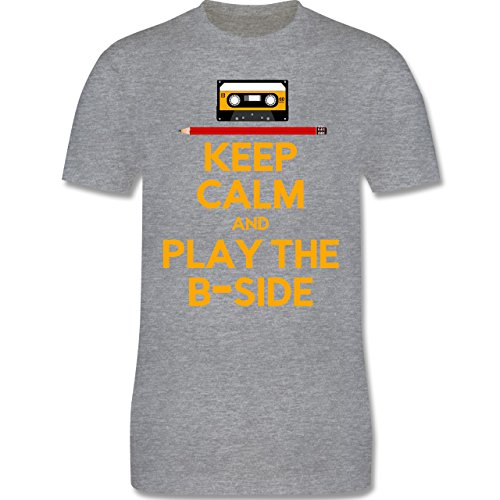 Music - keep calm and play the b-side - L190 Herren Premium Rundhals T-Shirt Grau Meliert