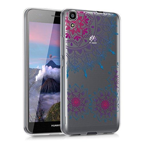 kwmobile Crystal Case Hülle für > Huawei Y6 < aus TPU Silikon mit Vintage Blumenring Design - Schutzhülle Cover klar in Pink Blau Transparent