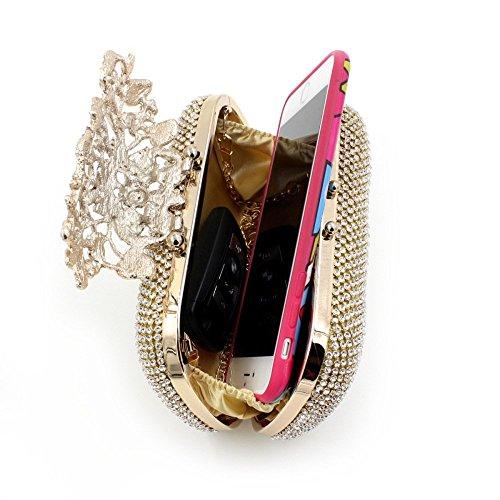 hibote Neue beiden Seiten Diamant Blumen Strass Abendtasche Clutch Upscale Styling Tag erfasst Lady Hochzeit Geldb?rse Silber Gold