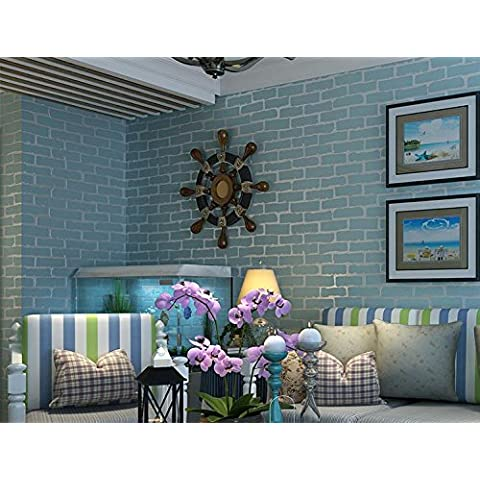 Papel pintado Papel pintado no tejido blanco azul salón dormitorio ladrillo wallpaper fondo de pantalla , days blue