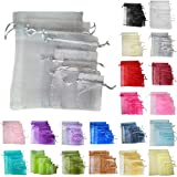 TtS 50pcs 9x12cm Organza Gift Bags Wedding Party Favour Jewellery Packing Pouches - Silver