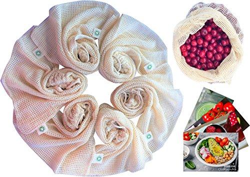 Cushy Family Obst- & Gemüsebeutel aus Bio-Baumwolle - glücklich Leben Ohne Plastik - 6er Gemüsenetz Baumwolle + 4er Rohkost-Rezept-Karten - Zero Waste Lifestyle (Bio-baumwolle Kordelzug)